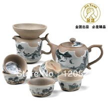 Kung fu tea set unique classical Ceramic tea set t Jingtao tea set 9pieces set