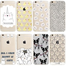 phone cases Cute white cat yellow Ducky dog silicon clear soft TPU case cover Apple iPhone7 7plus 6 6S 6plus 6splus 5 5S SE - LZ Tech store