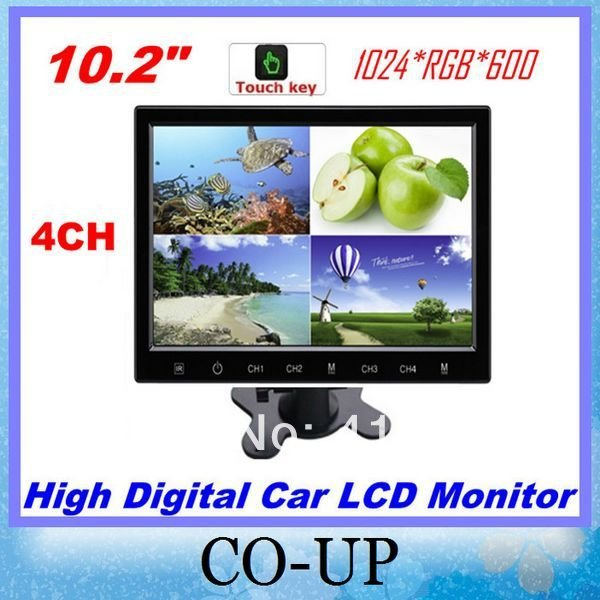 New Arrival! High Digital Screen 10.2 Inch split Car LCD Monitor With 4CH Video Inputs Splitter