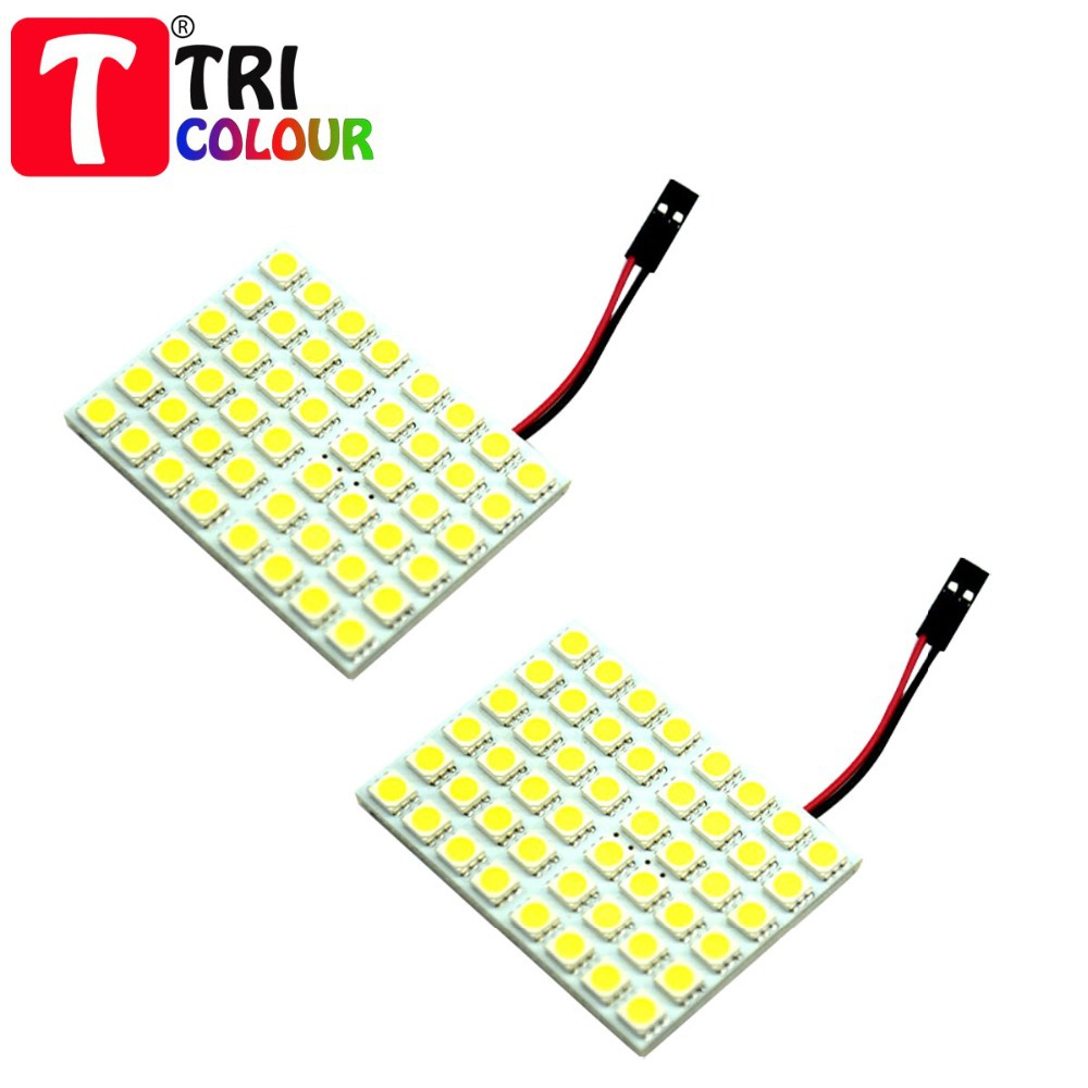 TRICOLOUR 2X Led Panel 48 SMD 5050 Car T10 Ba9s Adapter Festoon Dome Light Accessories Auto motor white blue red 12V panel #LL13(China (Mainland))