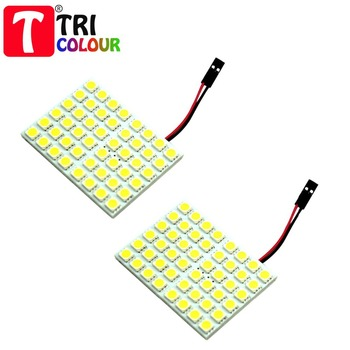 TRICOLOUR 2X Led Panel 48 SMD 5050 Car T10 Ba9s Adapter Festoon Dome Light Accessories Auto motor white blue red 12V panel #LL13