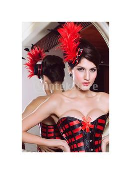 Free Shipping Ladies Hair Clip Feathers Bow Burlesque Punk Mini Top Hat - Black