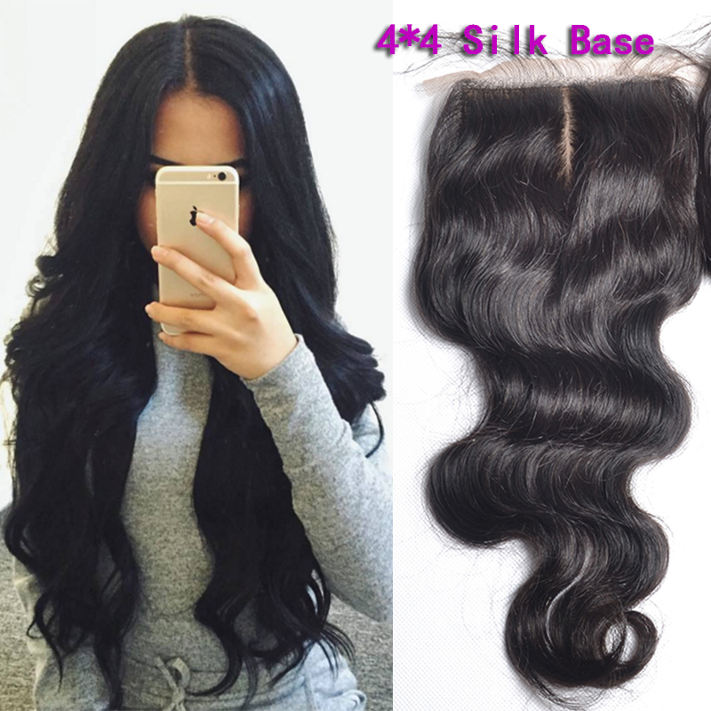 Fedex DHL Fastest 7A Peruvian Body Wave Silk Base Closure Silky Natural Hairline Bleach Knots Silk