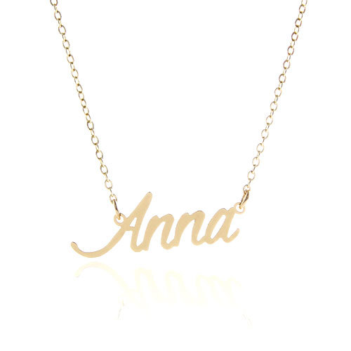 """Personalized Name Necklace Gold """" Anna """" Stainless Steel Charms 2015 Women Name Plate Necklace ,NL-2390(China (Mainland))"""