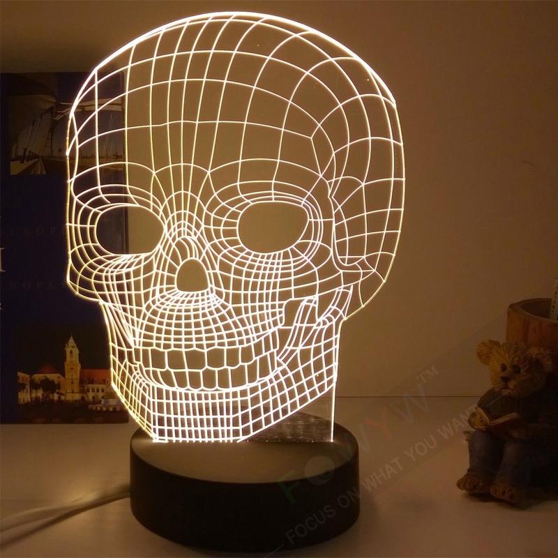 Free Shipping Skull 3D Lamp Table Lamps Indoor Art Deco Luminaria De Mesa Modern Table Lamps For Bedroom Fantastic Gift Abajur(China (Mainland))