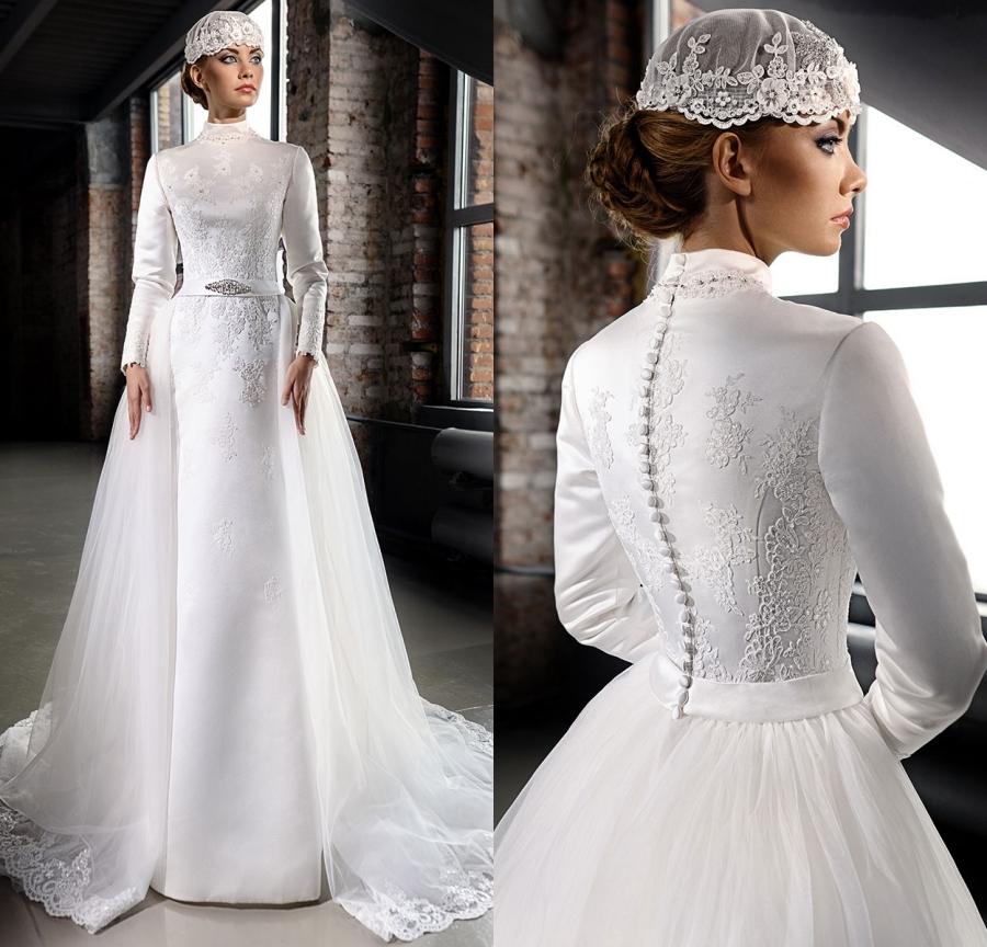 High Neck Wedding Dresses: Vestido De Noiva 2015 Elegant High Neck Wedding Dresses