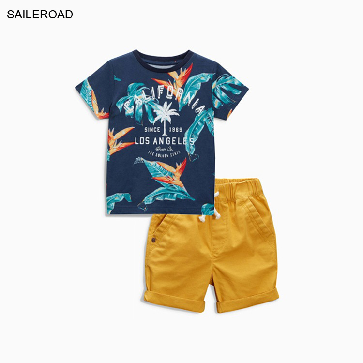 SAILEROAD Summer Cotton Baby Kids Boy's Clothing Set New Leaf Pattern Infant Boys Vacation Garments Suits For Children Boy Suits(China (Mainland))