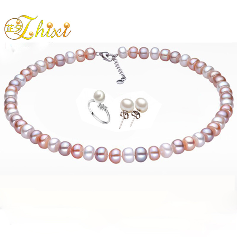 maxi 10-11MM Pearl jewelry sets,100% natural freshwater pearl neckalce beads,buy one get three PJXL1011CB(China (Mainland))