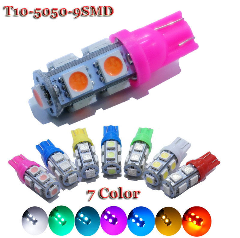 10 pieces X T10 9 SMD White 5050 Car 194 168 192 W5W Light Automobile Bulbs Lamp Wedge Interior 12V LED Light White 7 Color(China (Mainland))