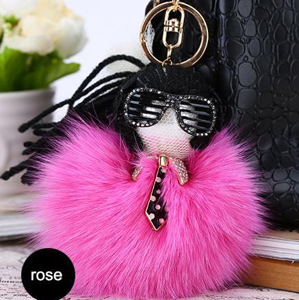 Fashion 1pcs Fox Fur Monster Pom Pom Doll Ball Key Ring Keychain Karlito Bag Charm Womens Accessories Rose Color от Aliexpress INT