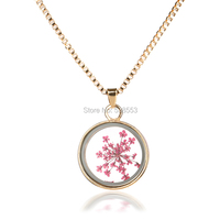 2015 New Arrival  Pendant Necklaces For Women Jewelry Fashion Pink Flowers Transparent Glass Necklace