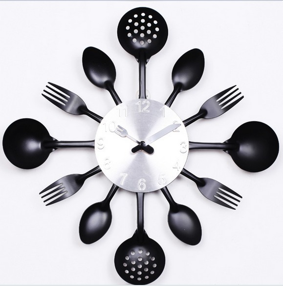 home decoration wall clock Knife Fork Spoon Originality clock Kitchen Restaurant The wall Decoration quartz Black(China (Mainland))