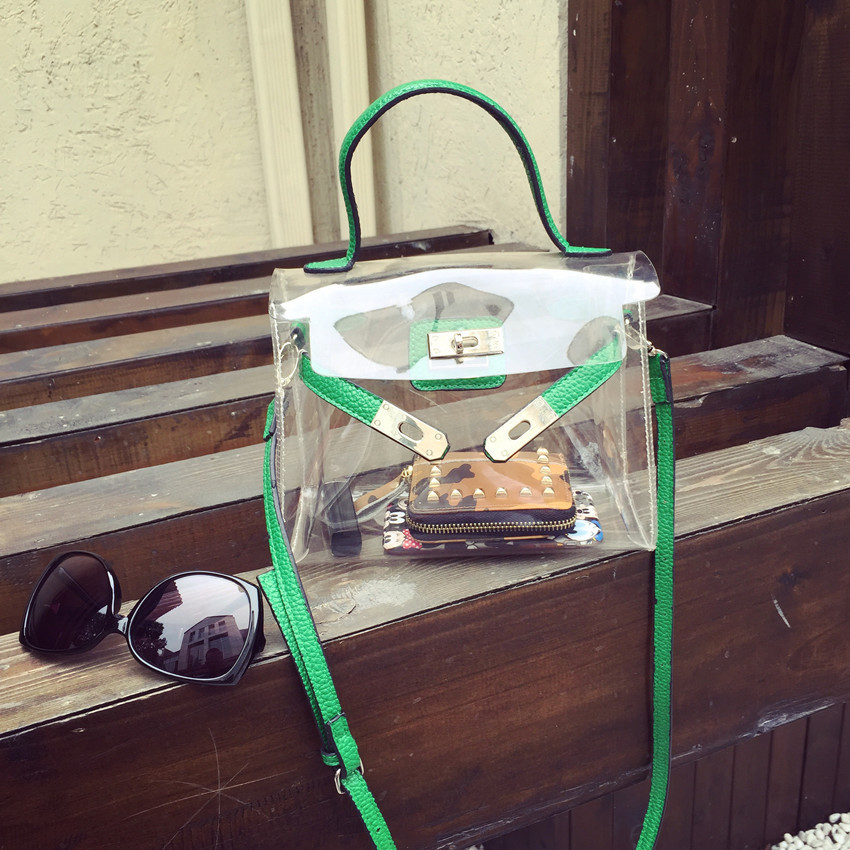 2015 fashion pvc material clear handbag green beach bag women bag color block women transparent bag(China (Mainland))