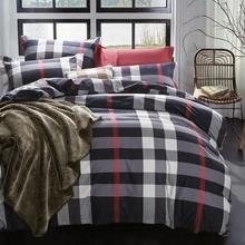 Classic plaid fleece duvet cover christmas bedding bedspread pillowcase 4pcs brushed fabric+100% cotton bedding set king queen(China (Mainland))