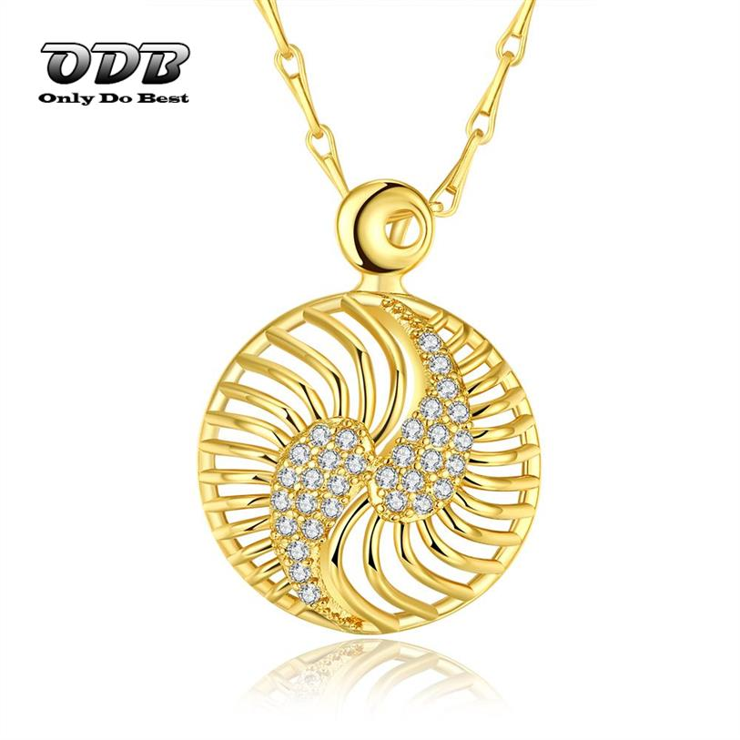 Zircon Round Women Pendant Necklace 18K 24K Real Yellow ...
