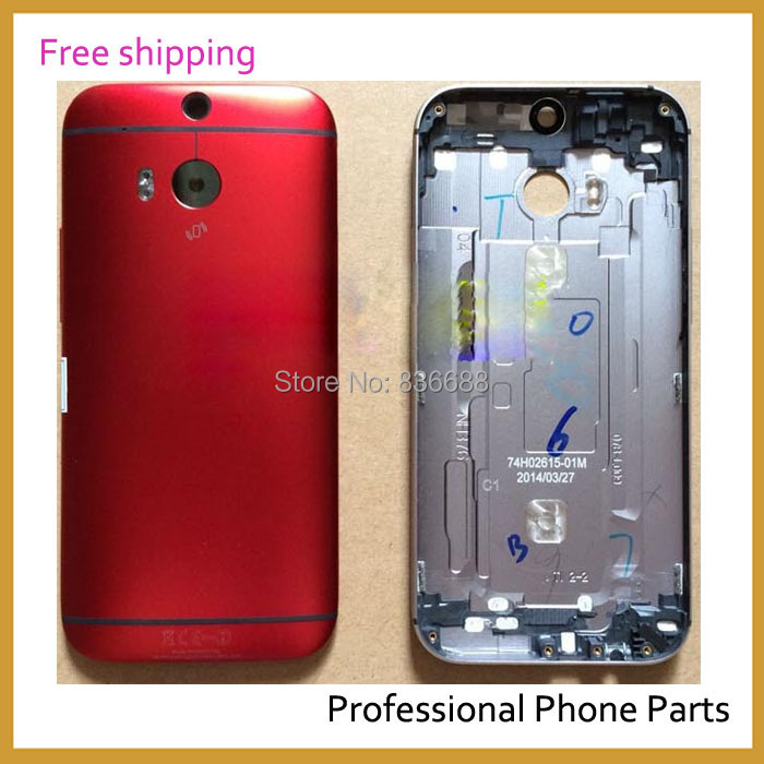 100% Original New Battery Door  Back Cover Case Housing  For HTC One M8  Red Color ,Free / Drop  Shipping