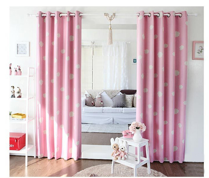 Cute cloud print full black out window curtains light shading decorative for kids bedroom grommet finished size pink color(China (Mainland))