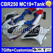7gifts+Tank blue white HONDA MC19 CBR250RR 86 87 88 89 M952 CBR250 RR CBR 250RR 1986 1987 1988 1989 red blk Fairing - Motomarkets store