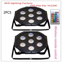 2 шт. рекламные упаковки беспроводной пульт дистанционного управления из светодиодов Par 7 x 12 Вт RGBW 4на1 DMX свет этапа снизу вверх