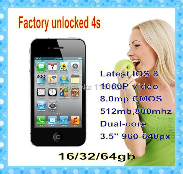 "Original Apple Iphone4s Phone 16GB/32/64GB IOS 8 3.5"" IPS Dual-core 8MP 1080P Factory Unlocked Cell Phone(China (Mainland))"