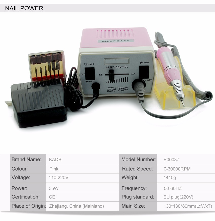 KADS New Arrival Pink 30000RPM Pro Electric Nail Drill Machine Manicure Kits File Drill Bits Hot  Band Accessory Nail Salon Tool