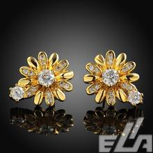 2015 new fashion jewelry 18K gold plating / Rose gold / White gold stud earrings with High Quality zircon earrings(China (Mainland))