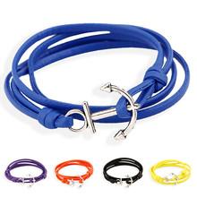 New Charm Men Jewelry Stretch Anchor Bracelet Male Two Laps Hooks Blue Black PU Leather Bracelet Hand Cuff Accessories