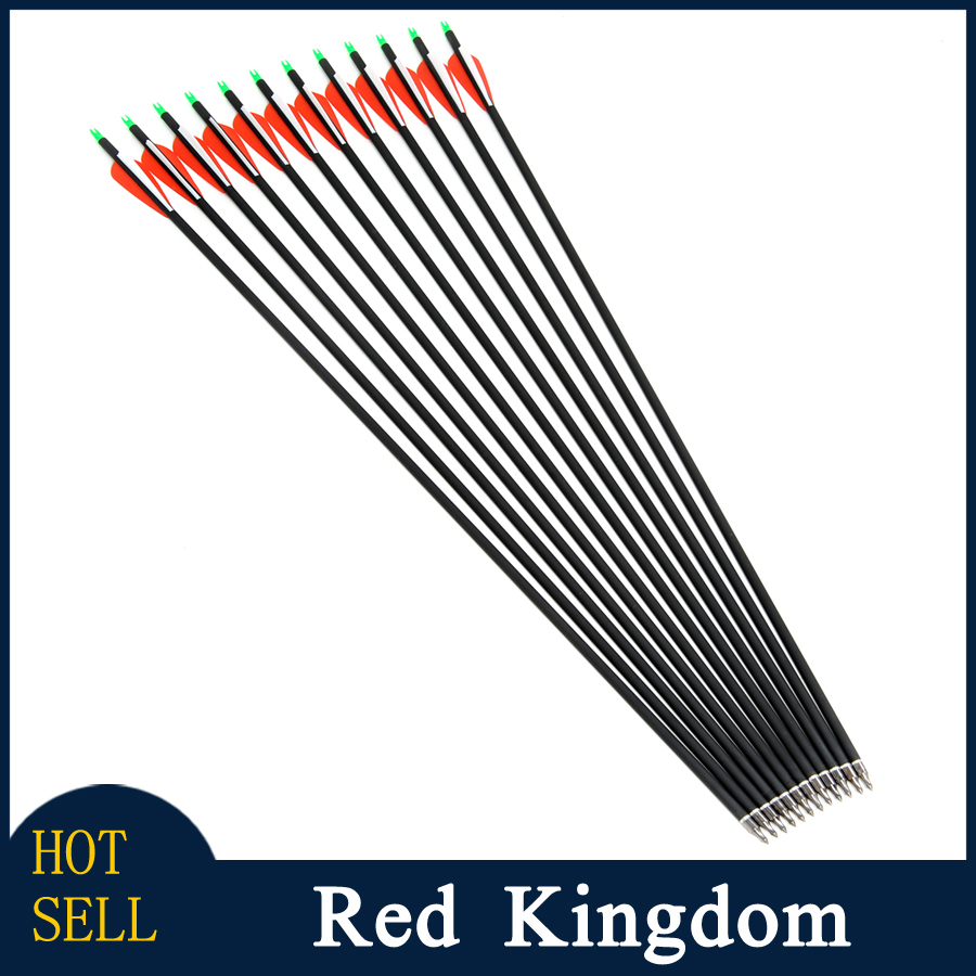 12pcs Replaceable Arrowhead 30inch Spine 500 Carbon Aluminium Arrows Hunting Bow Arrows for Compound Recurve Bow