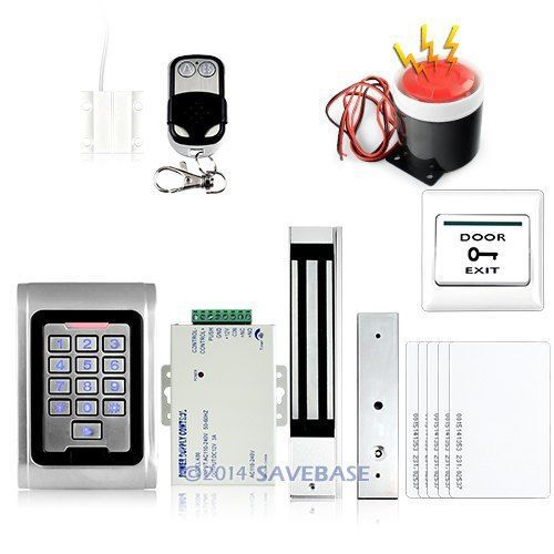 HOMSECUR Waterproof RFID Card Access Control Kit+Magnetic Lock+Door Sensor+Siren+5 Cards(China (Mainland))
