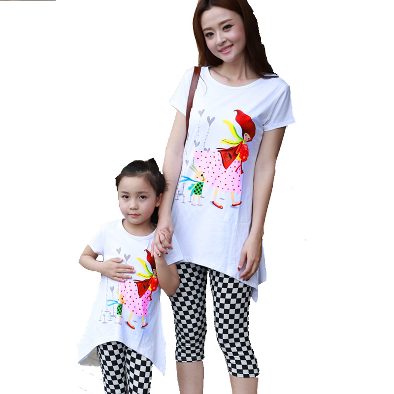 Mother and Daughter Clothes Set Baby Mom Matching Family Casual Family Clothing Mae E Filha Summer Style Mommy and Me Clothes(China (Mainland))