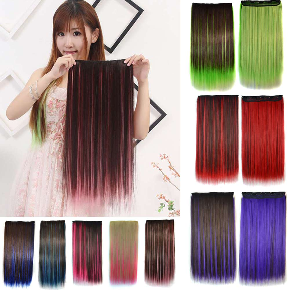 2017 Women Hair Extensions Colorful Straight Long High Tempreture Synthetic Hair Clip Hairpiece Wig(China (Mainland))