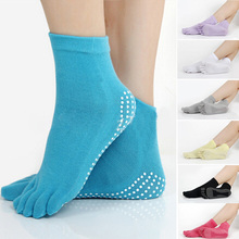 Soft Women Girls Cotton Warm Pure Color Yoga Anti-slip Five Toe Exercise Socks