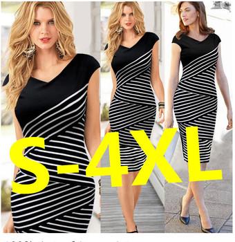 4XL Women Summer Dress 2015 Sexy Hip Stripe Pencil Dress Plus Size Desigual Casual Long Dress Party Maxi Dress Vestido de festa