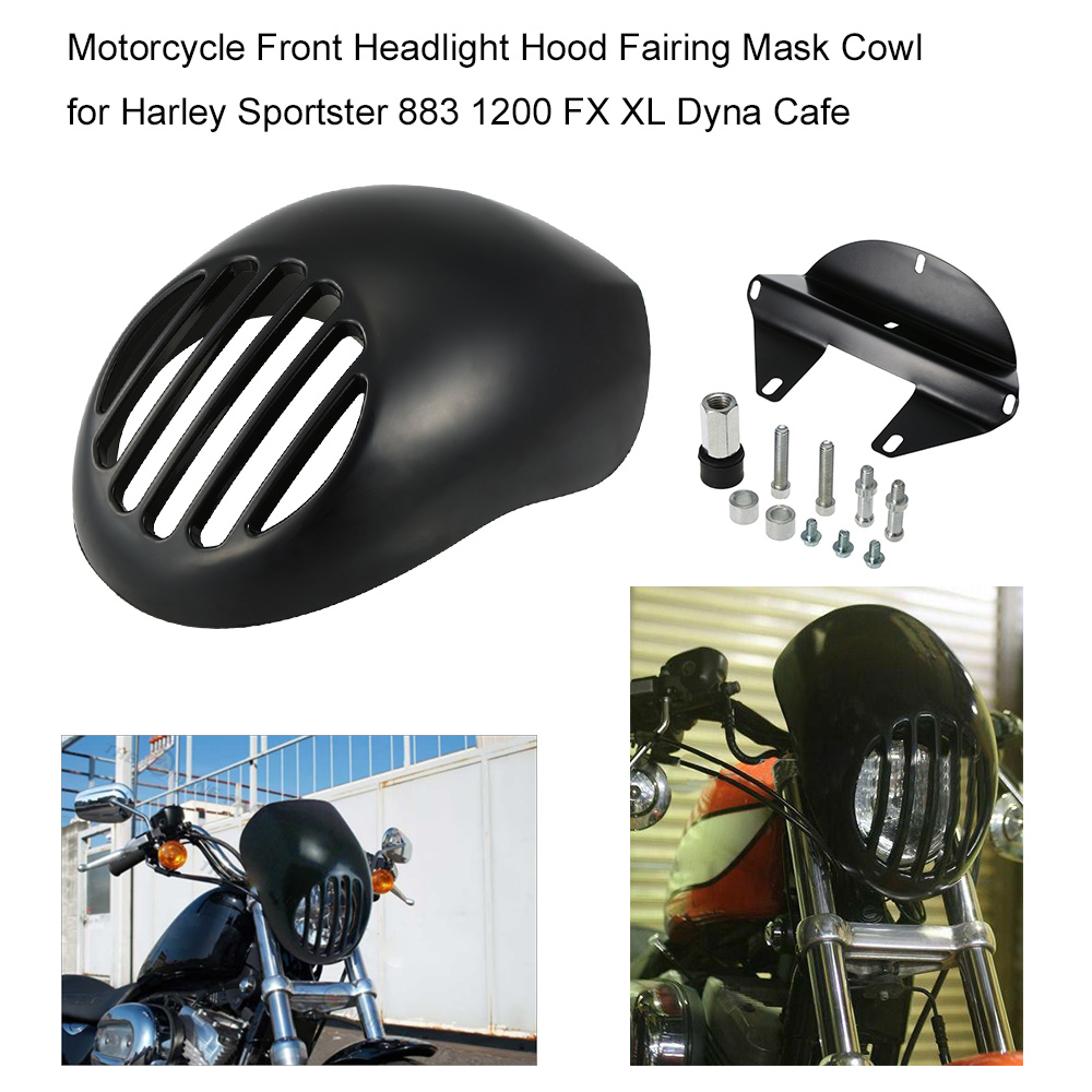 """Motorcycle Headlight 5.9"""" Front Hood Fairing Mask Cowl with Grille for Harley Sportster 883 1200 FX XL Dyna Cafe Racer(China (Mainland))"""