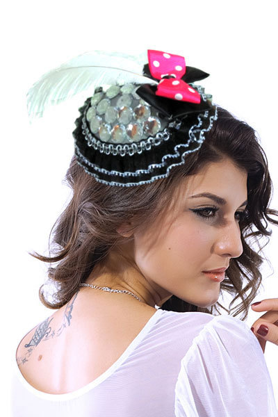 Hair clips for women 2015 vestidos femininos big sale mini top hat headband with lace and resin rhinestone fashion accesories(China (Mainland))