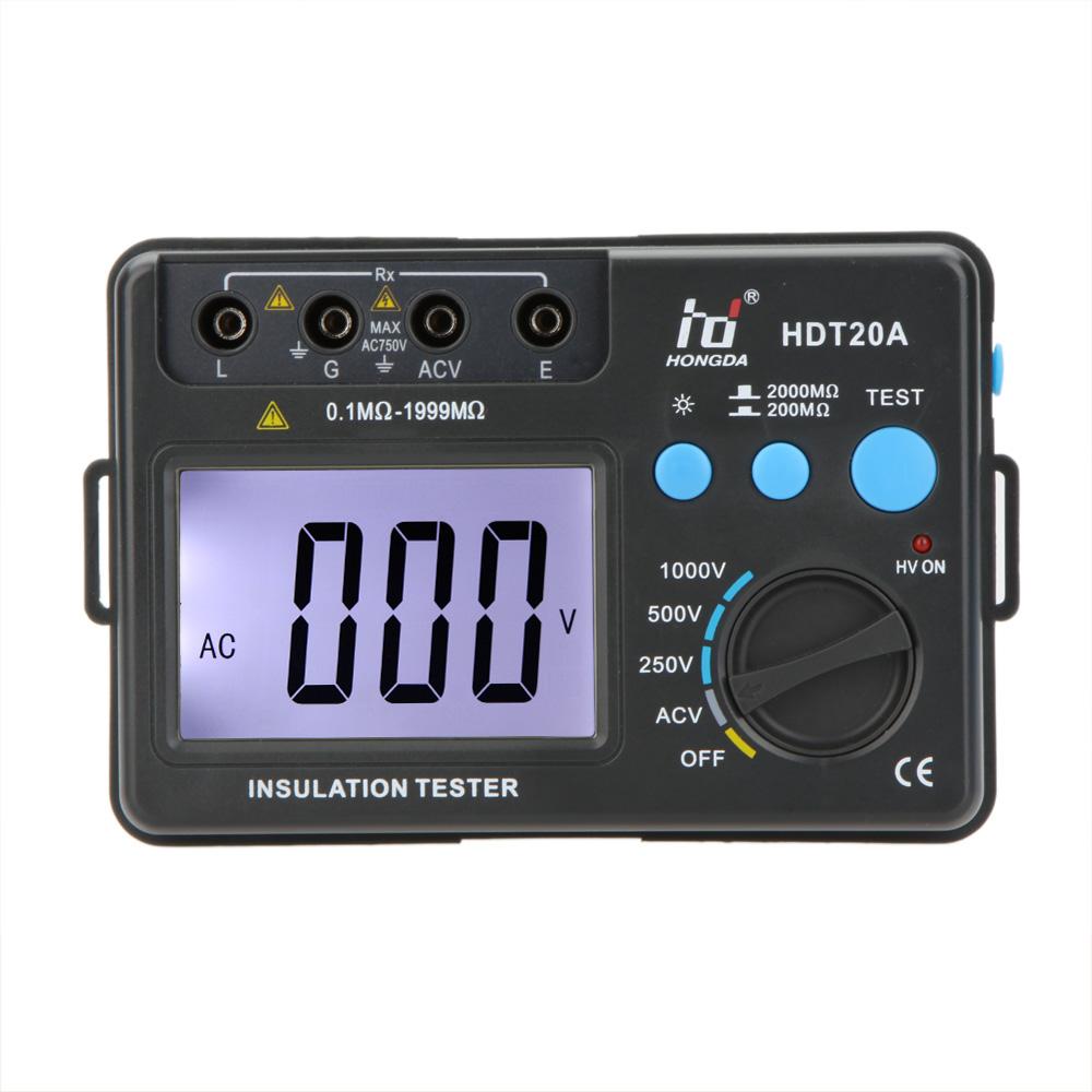 HD HDT20A Insulation Resistance Tester Meter Megohmmeter Voltmeter electronic diagnostic-tool esr meter 1000V w/ LCD Backlight(China (Mainland))