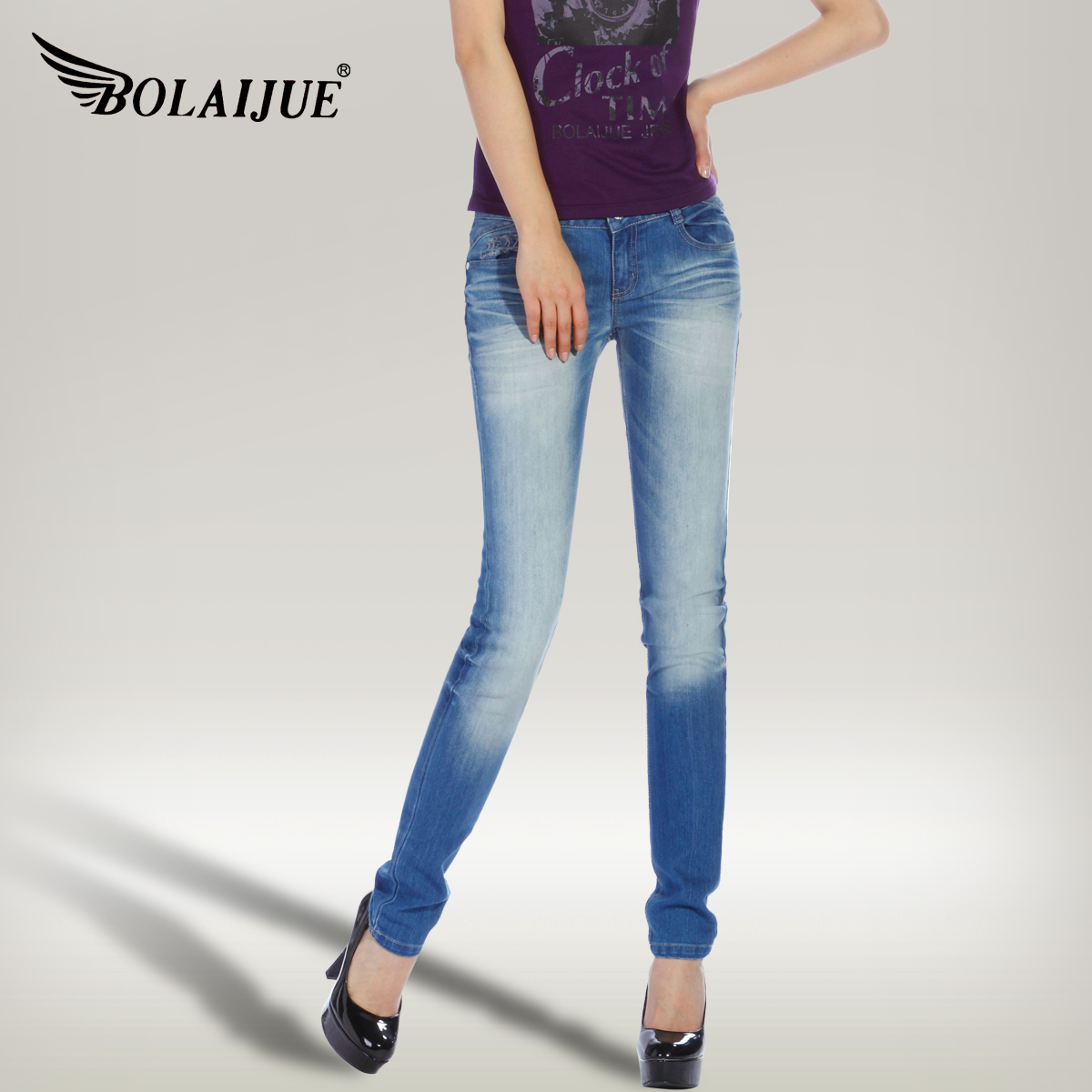 Bolaijue Spring New Arrival All Match Women 39 S Pleated Elastic Pencil Jeans Skinny Pants