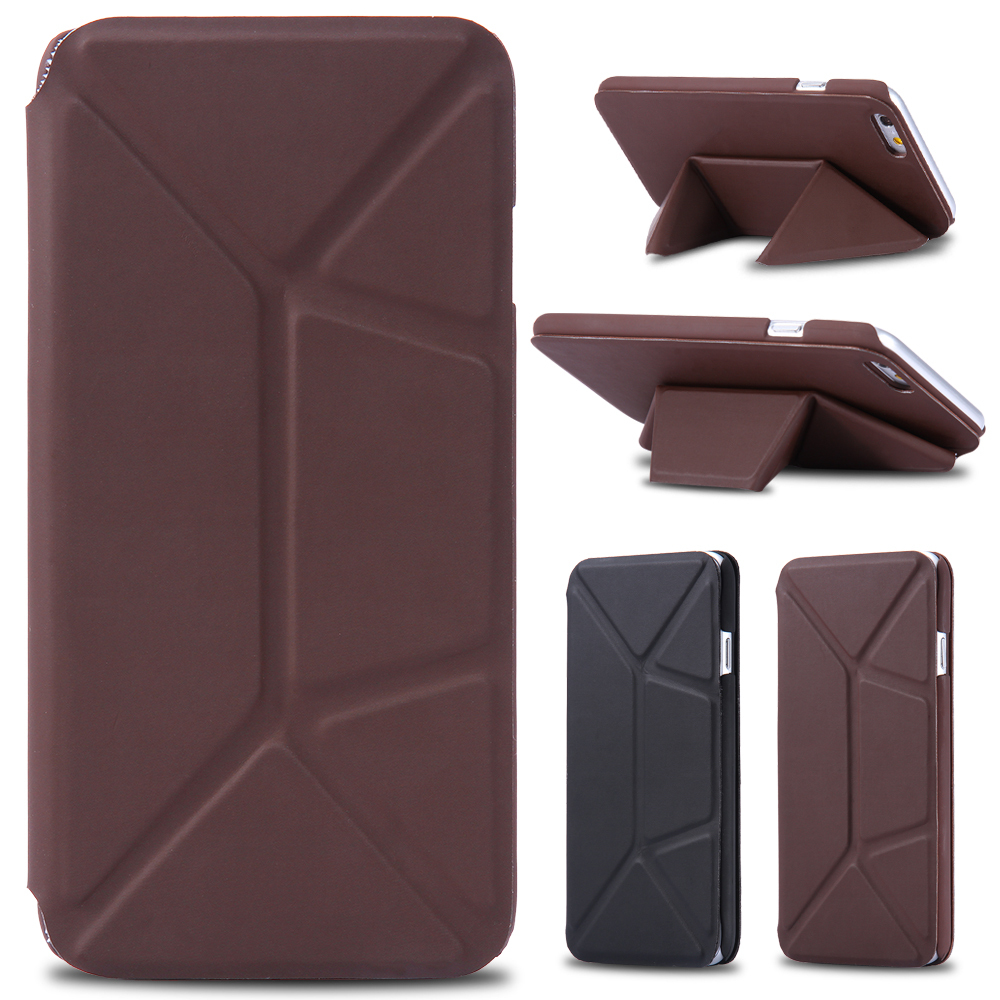 Top Quality PU Leather Skin Folded Case for iPhone 6 Ultra Flip Full Body Protective Phone Cover Transformer Deformation Stand(China (Mainland))