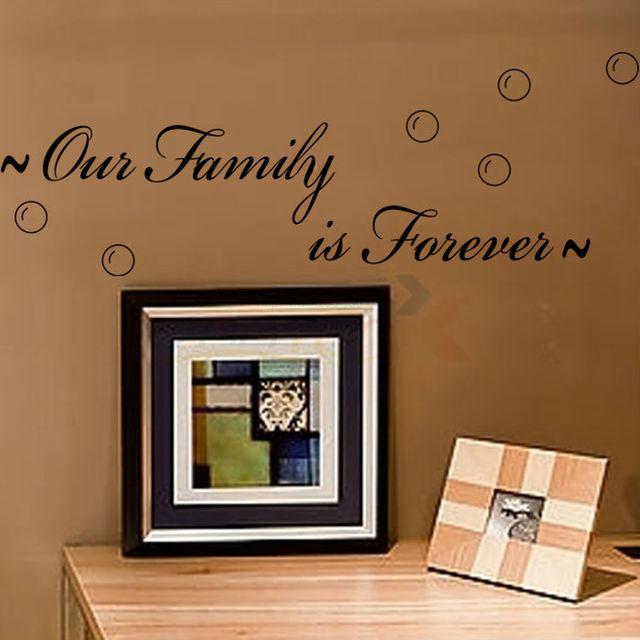 '' наша семья навсегда '' творческой котировки наклейка на стену декоративные съемные виниловые наклейки стены лучшие продажи 8179