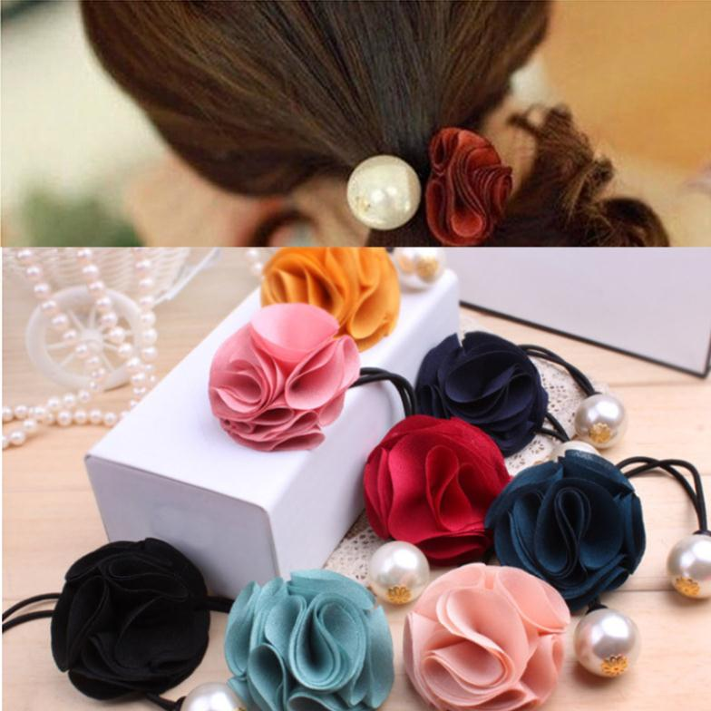1Pcs Free Shipping Hair Accessories Beautiful Fabric Flower Rose Pearl Elastic Hair Band for Women Headwear Girls Hair Bands(China (Mainland))