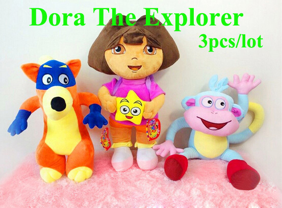 Free Shipping 33cm 3PCS /LOT Stuffed Plush Toy Dora The Explorer Swiper Fox Boots Monkey For Kids Gifts dora aventureira(China (Mainland))