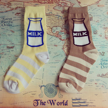 2015 new milk bottle milk Meng Japanese trade and creative personality striped cotton socks spring and summer in tube socks sock