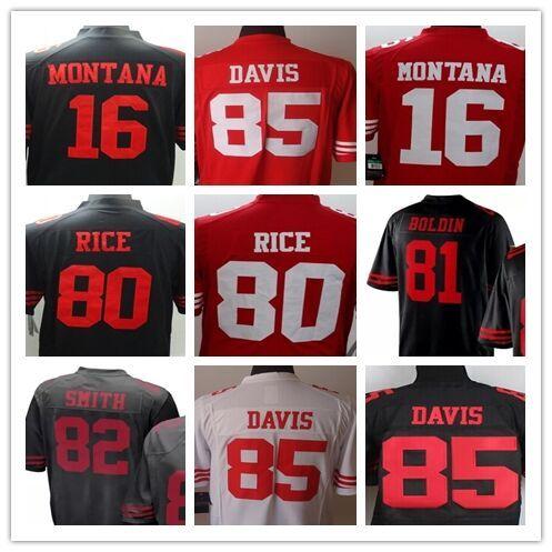 16 Joe Montana 81 Anquan Boldin 80 Jerry Rice 82 Torrey Smith 85 Vernon Davis Men's Game Football Jerseys Size:S-XXXL
