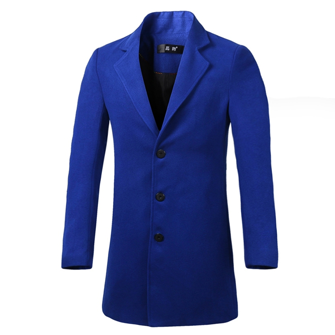 2016 New Fashion Long Men's Trench Coat Single Breasted Winter Overcoat Leisure Long Men Solid Slim Wool Coat  Plus Size M-3XL