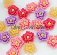 Set of 50pcs mixed color Peony flower resin cabochons 20x6mm Cell phone decor hair accessory DIY