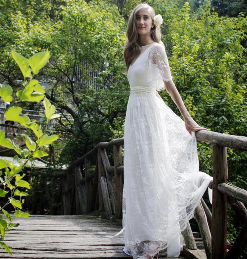 Bohemian romantic style wedding dresses 2016 lace bride for Short style wedding dresses