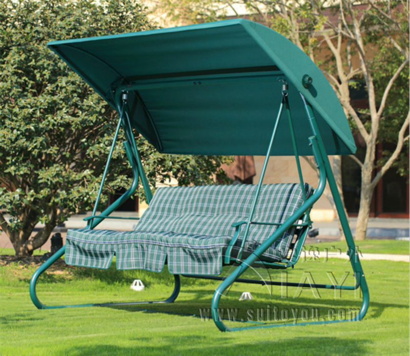 3 Seater Durable Iron Patio Garden Swing Chair Hammock Hanging Cover Bench Wi