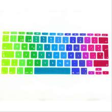 Rainbow Spanish UK EU Silicone Keyboard Cover Skin Protector 100PCS For Apple MacBook Air 11.6 inch 11″ EU For Mac book 11″ 11.6