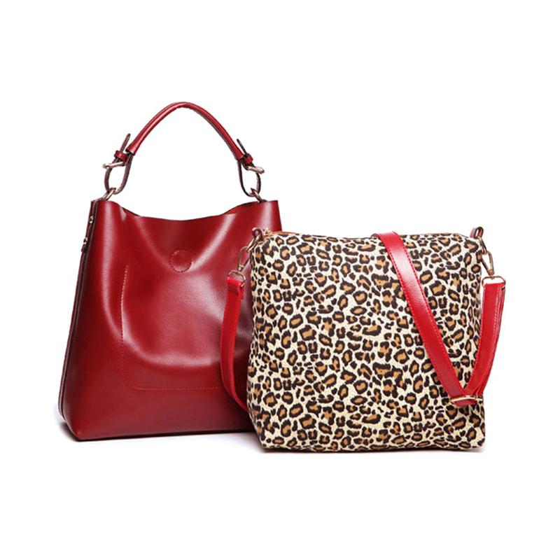 PU leather red black leopard print handbag shoulder crossbody casual tote composite bags for lady women female bolsa feminina(China (Mainland))
