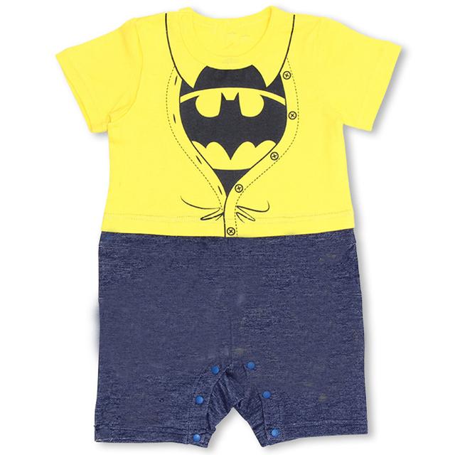 2016 новинка лето хлопок супермен с коротким рукавом ребенка ползунки комбинезон мальчик одежды Bebe Menino